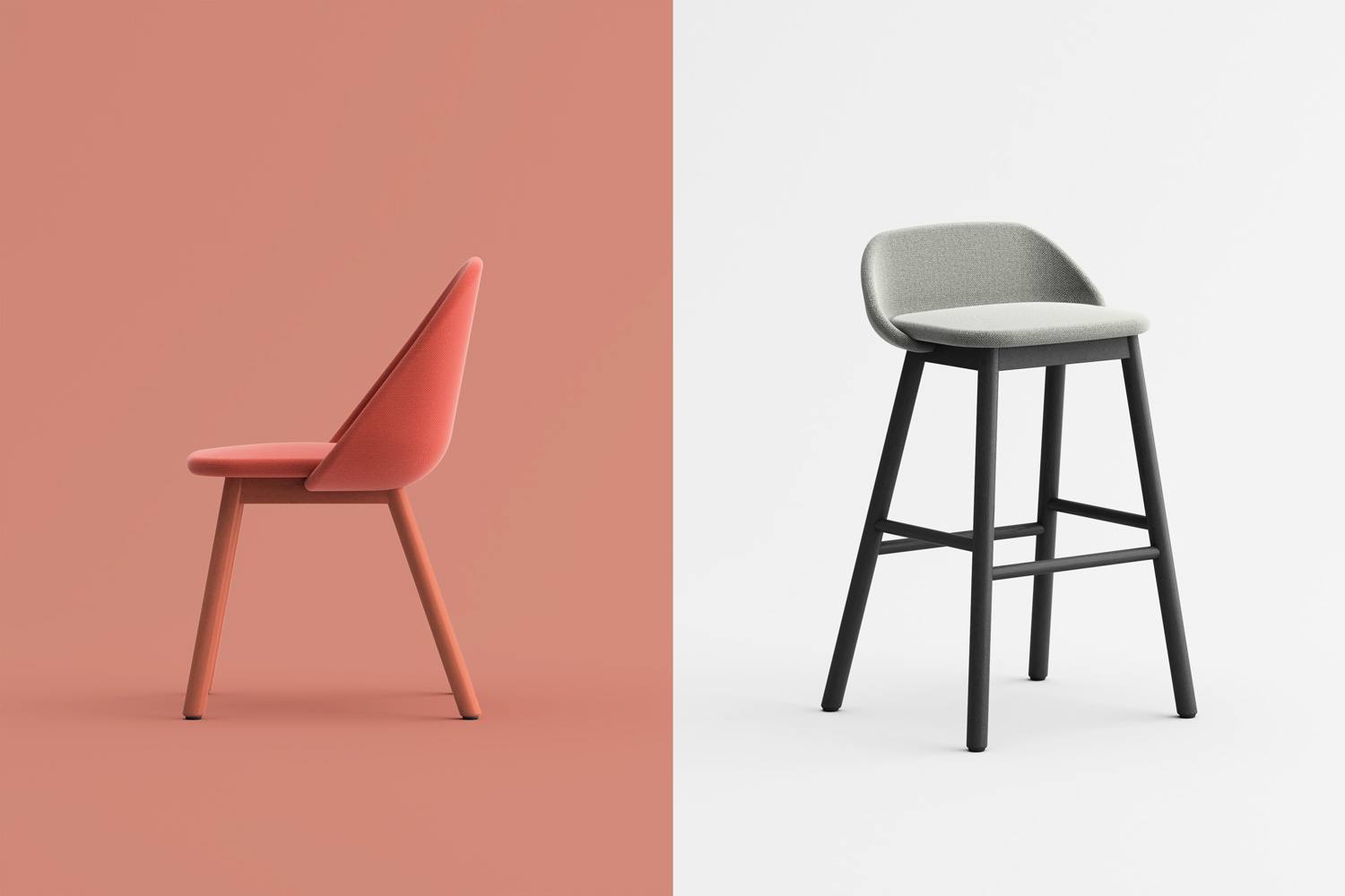 Spoon chair and barstool