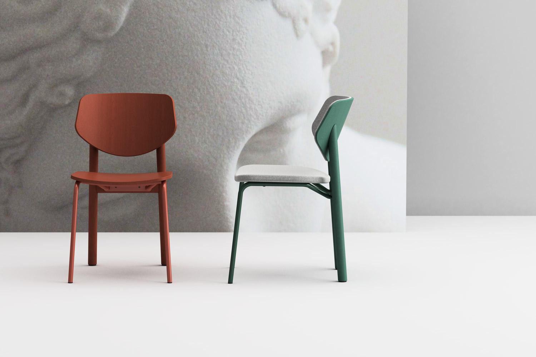 Link sedia in legno e acciaio sedile imbottito o in legno