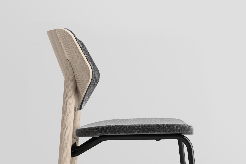 Link sedia in legno e acciaio sedile imbottito