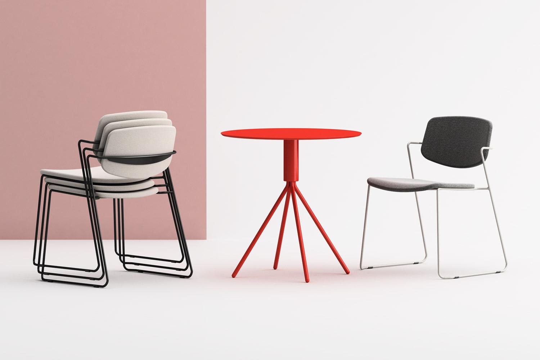Serpentine chair impilabile e tavolo Galileo