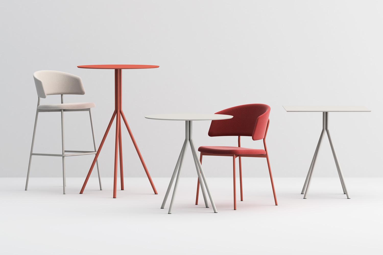 Wrap steel barstool and chair, Galielo table