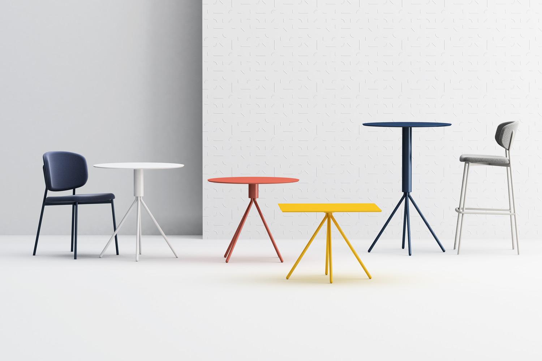 Wround chair and barstool, Galileo table